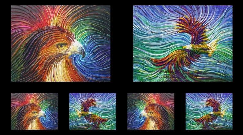 Artworks IX EAGLE & WAVE OMBRE Panel