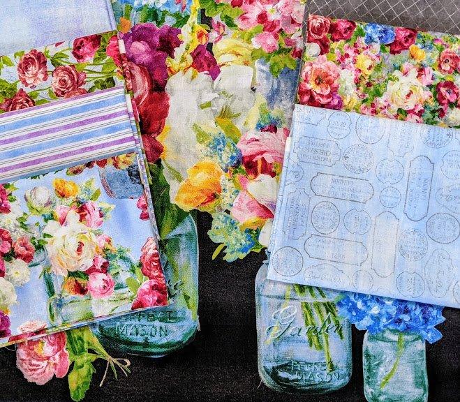 Flower Market Yard Bundle Blue (7 yds. + panel)