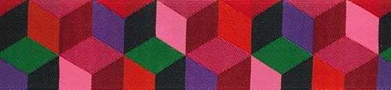 Ribbon - Kaffe Red Tumbling Blocks 1.5