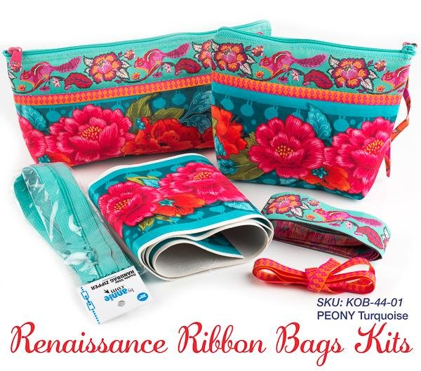 Renaissance Ribbons Bag Kit - Peonies on Turquoise (makes 2)