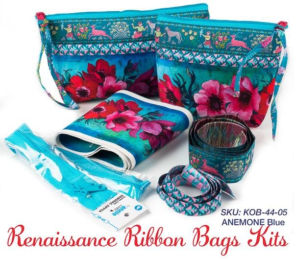 Renaissance Ribbons Bag Kit - Anemone on Blue (makes 2)