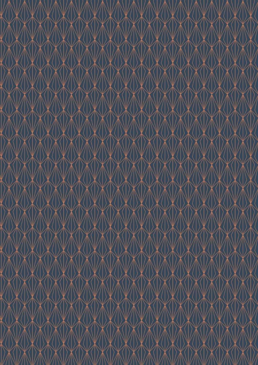 Marvellous Metallics Copper geometric on navy