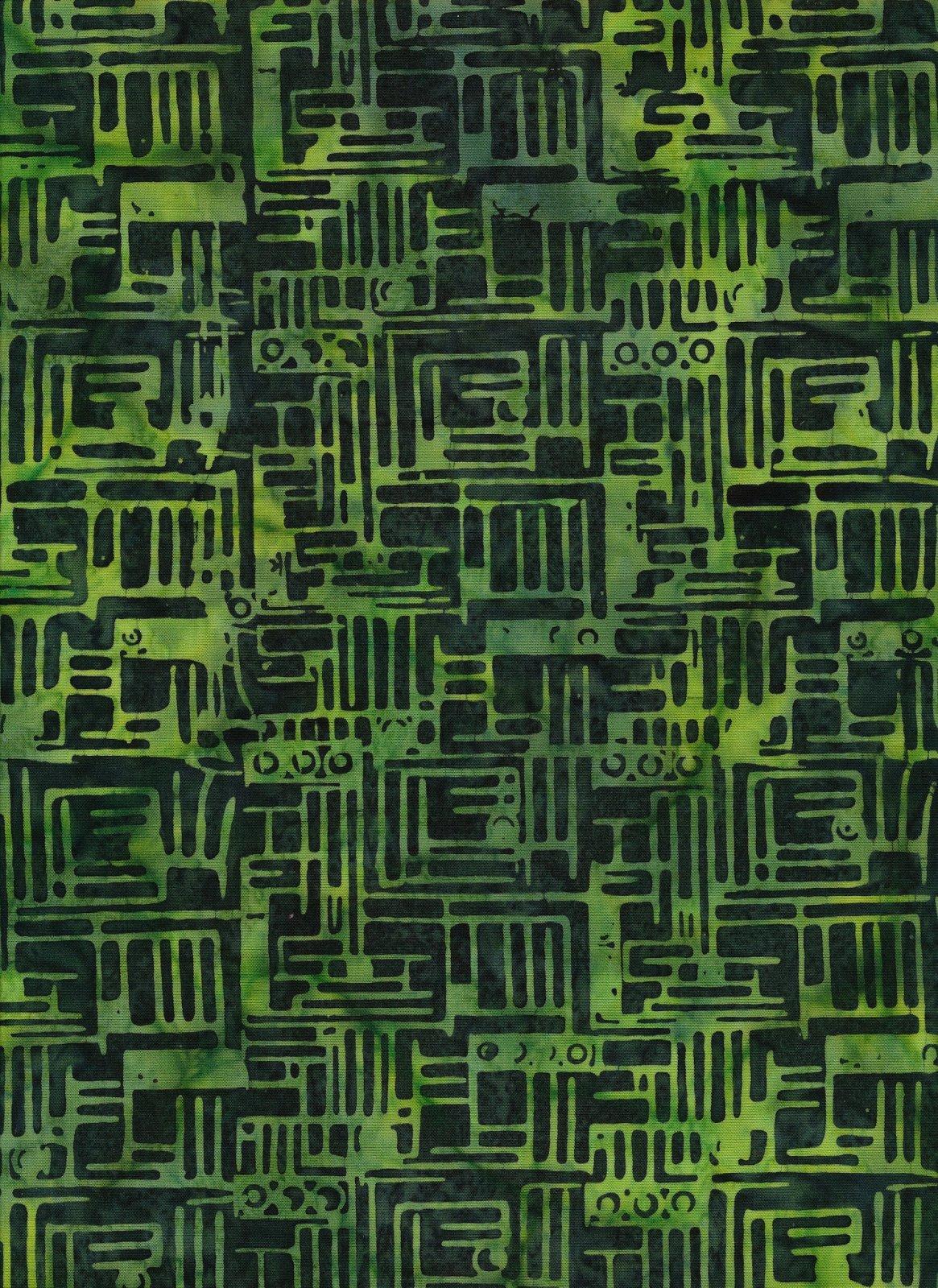 Ocean Floor Batik Lt & Dk Green