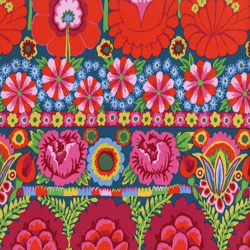 Artisan - Embroidered Flower Border - Red