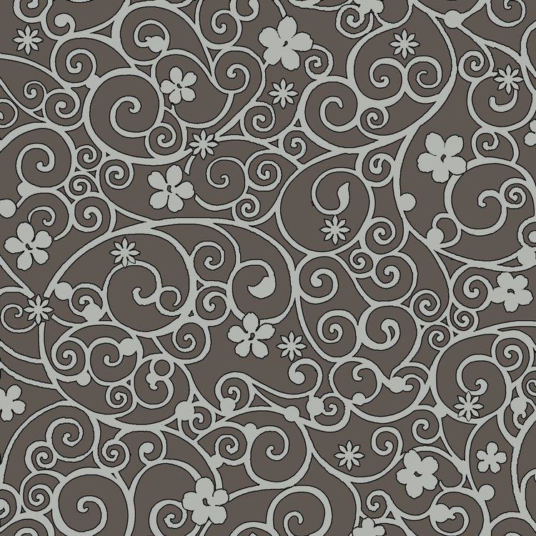 Floral Glamour Brown/Grey Scroll