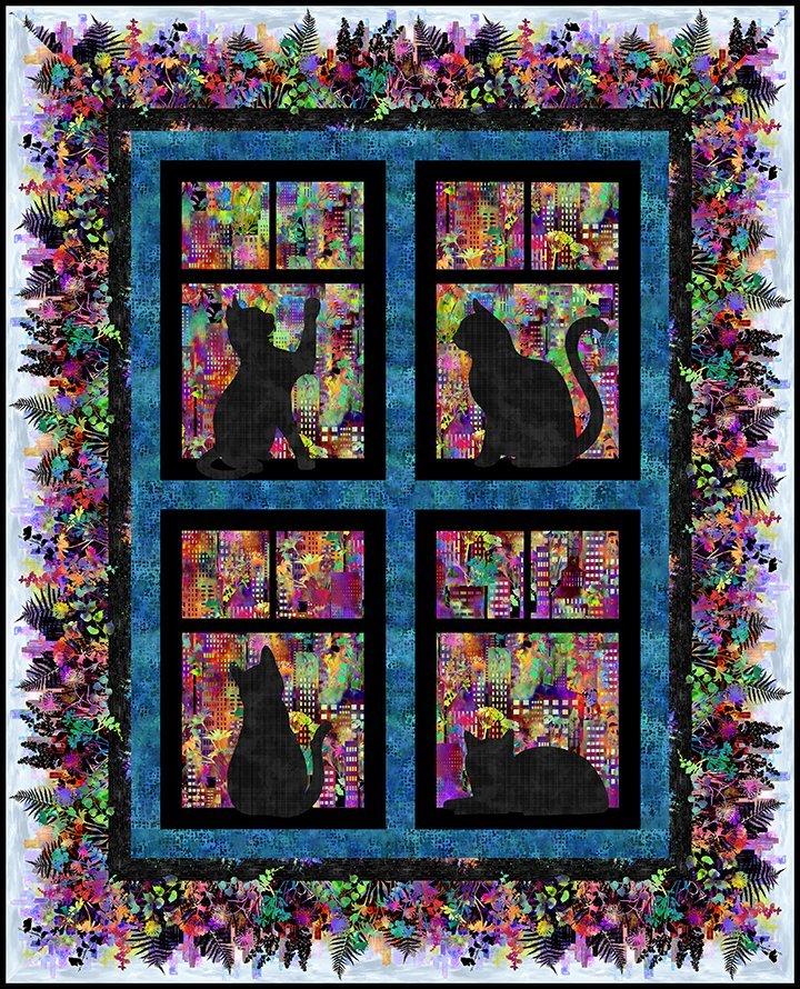 Urban Jungle City Cats Quilt (54.5x67.5)