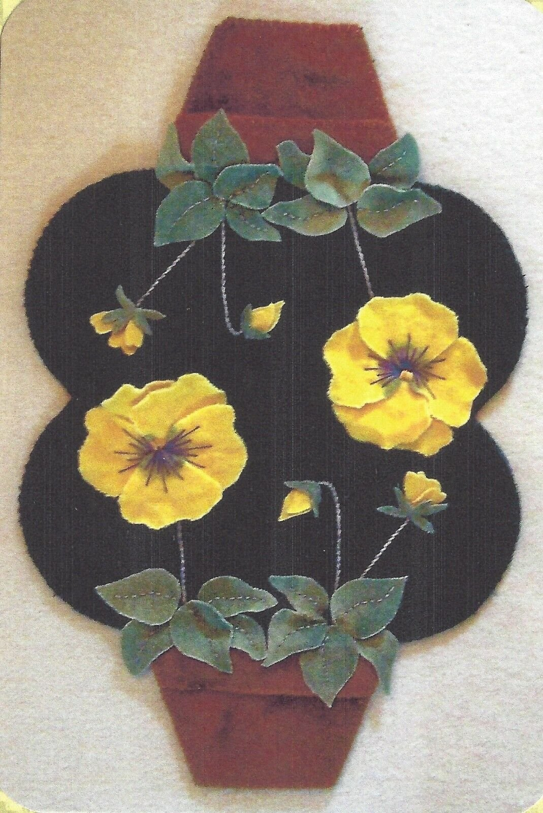 Clay Pot Pansies Penny Rug