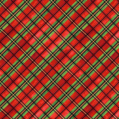 Snow Bird Flannel Plaid on Bias Red