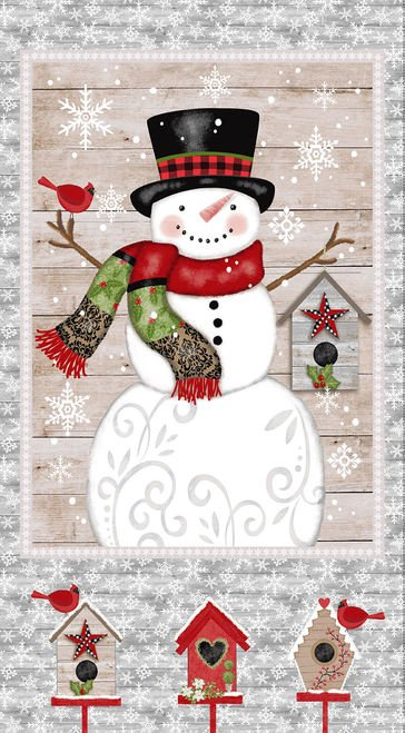 Snow Place Like Home Snowman Panel Gray (24x44) #85