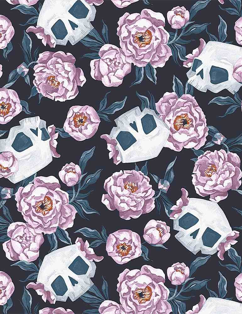 Toil & Trouble Skull Floral Graphite