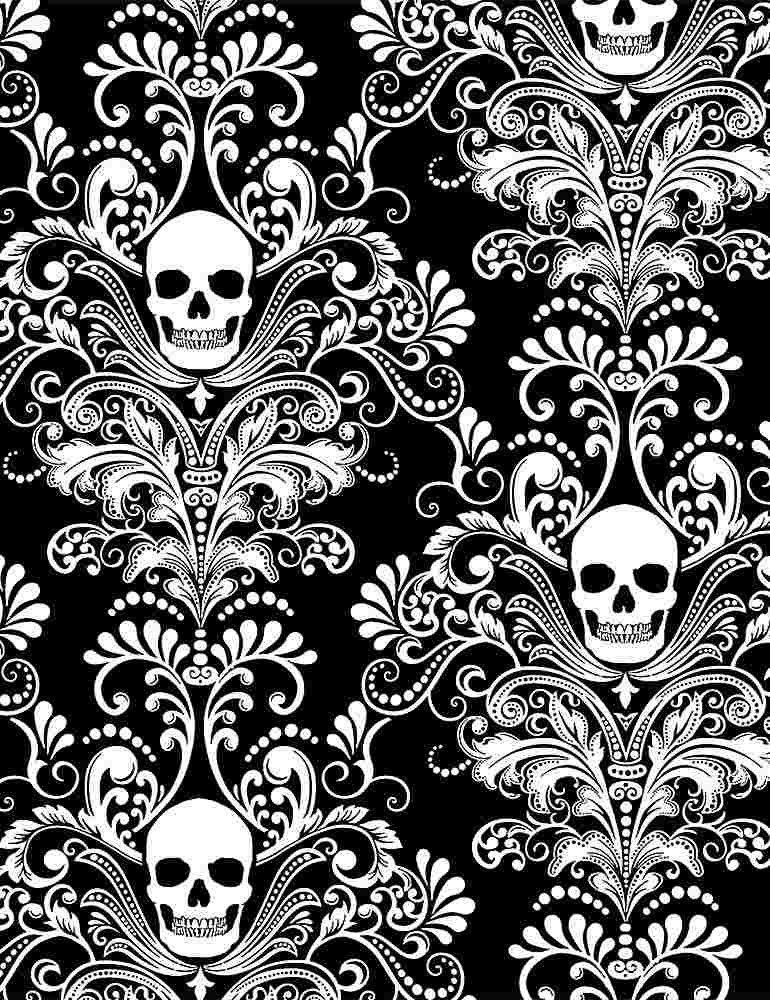 Glow in the Dark Skull Damask Negative