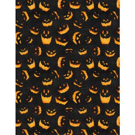 Haunted Night - Spooky Faces Black