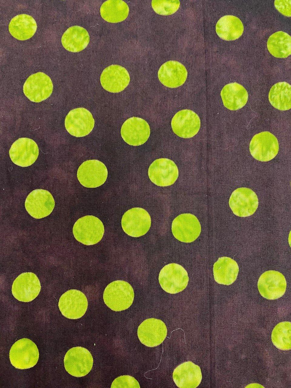 Batik Textiles Green Polka Dots