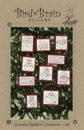 Snowman Redwork Ornaments Pattern