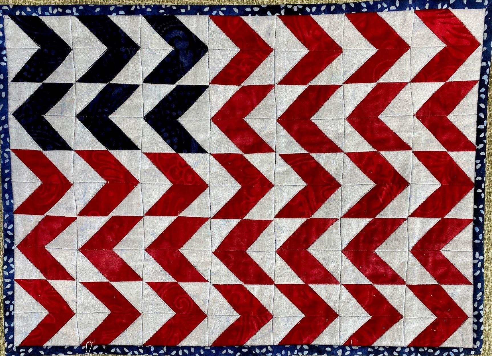 Mini Chevron Red White & Blue Batik Kit