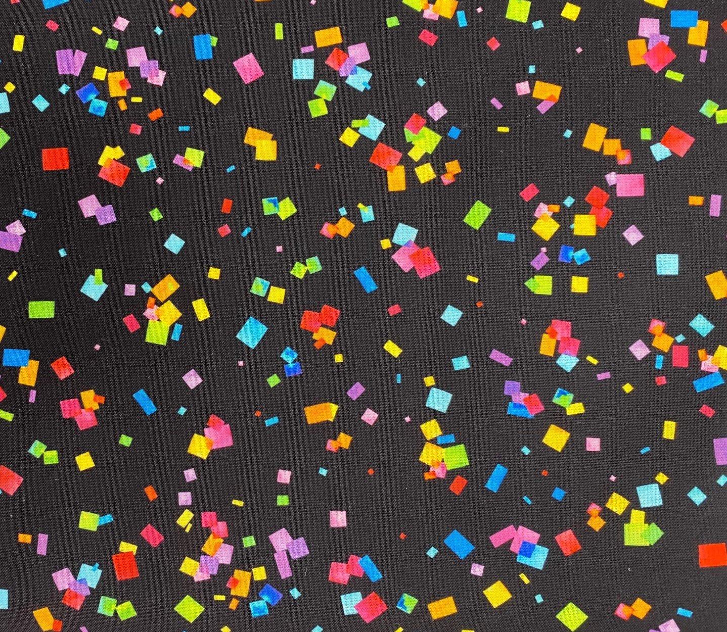 Confetti on Black- Cue the Confetti