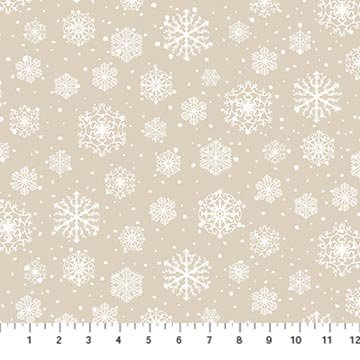 Frosted Forest snowflakes on beige Flannel