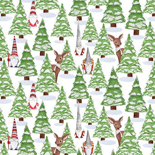 Gnoming Through the Snow-Gnomes in the forest with deer