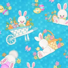 Hop To It! Bunnies on Blue