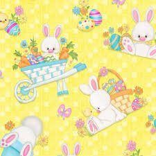 Hop To It! Bunnies on Yellow