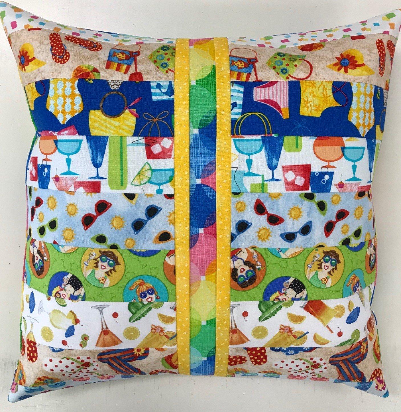 Beginner Rotary Cutter Pillow Kit Beach Drink Version
