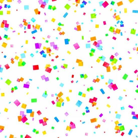 Confetti on white- Cue the Confetti
