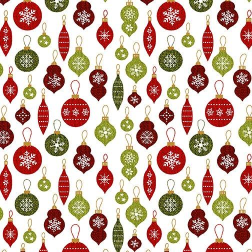 A Jingle Bell Christmas Crossroads Ornament Wht/Multi