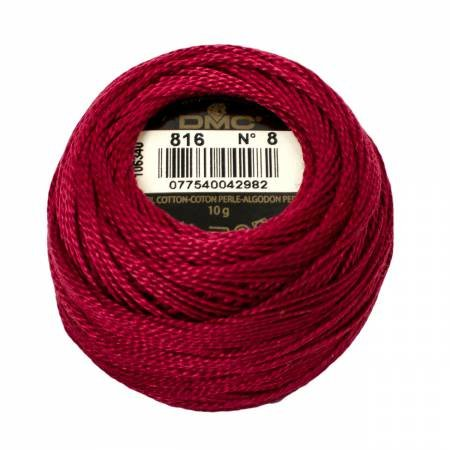 DMC Perle Cotton Size 8 816 Garnet