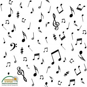 Quilters Harmony Music Notes White/Black