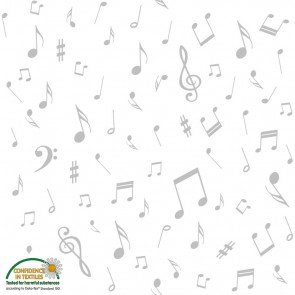 Quilters Harmony Music Notes White/Grey