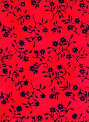 Serendipity Black on Red Floral