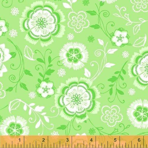 All A Flutter Floral Scroll Green