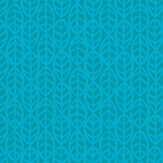 1 Yard Doodlicious by Kim Schaefer Turquoise leaf