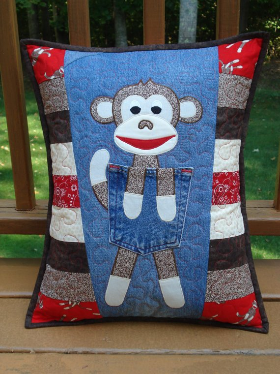 Clever Monkey Denim Pillow Pattern