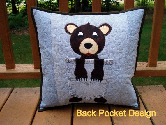 Cozy Bear Denim Pillow Pattern