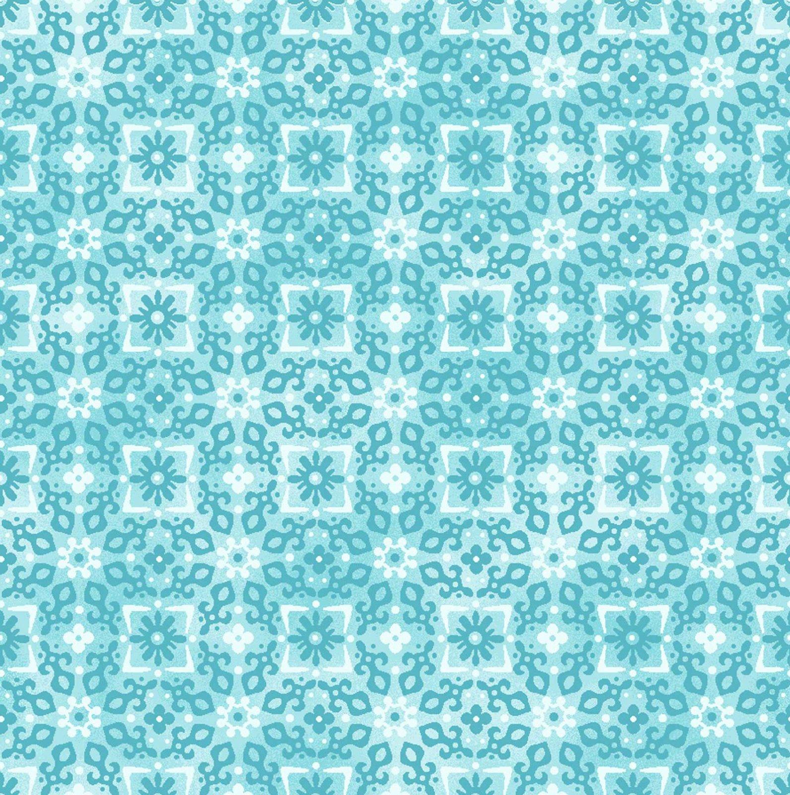 Enchanted Cotton Turquoise Tonal Floral