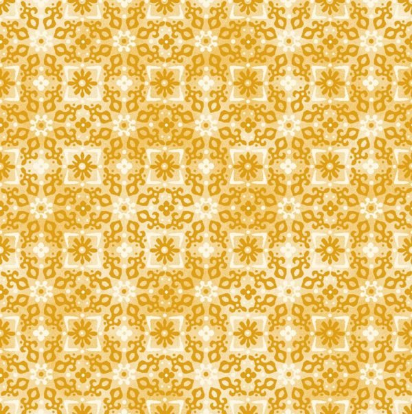 Enchanted Cotton Gold Tonal Floral