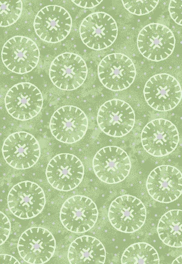Enchanted Cotton Light Green Circles
