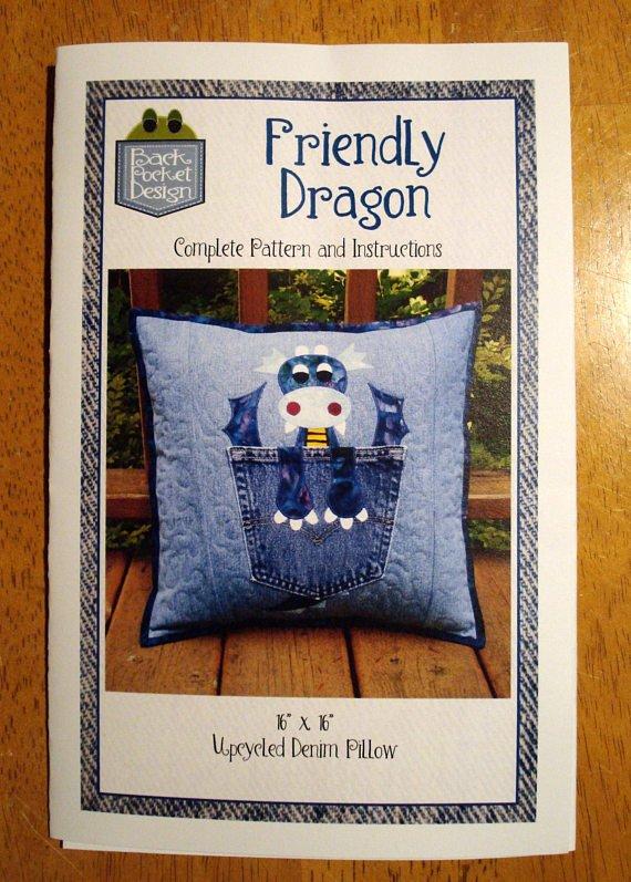 Friendly Dragon Denim Pillow Pattern