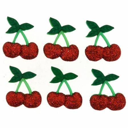 Cherry Glitter Buttons