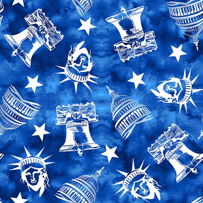 One Land One Flag Patriotic Icons Blue 1480-75