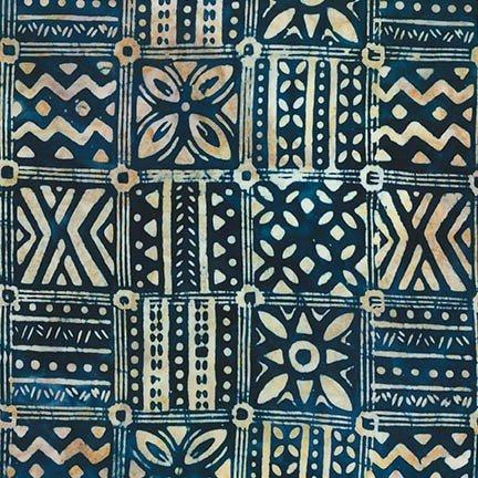 Totally Tropical Indigo Woodblock Batik