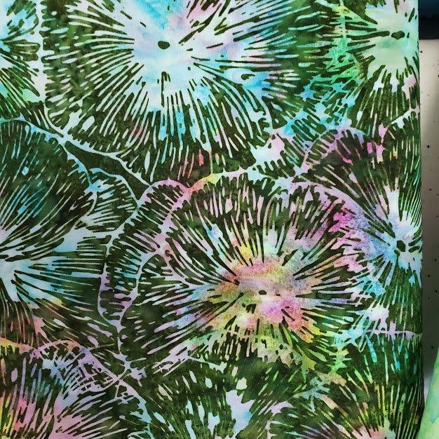 Double the Fun Mystery Bag 19, Green Batik Flower