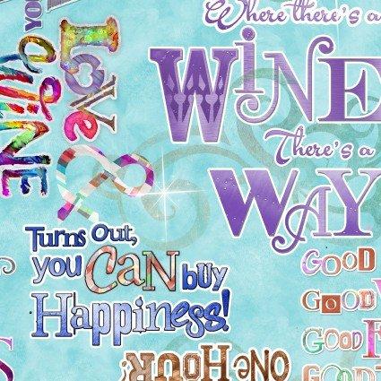 Sip & Snip Turquoise Wine Words 14910-turq