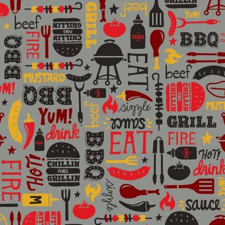 Peace Love and BBQ Grey Words/Motifs 9511-90