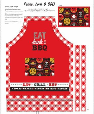 Peace Love and BBQ36 Apron Panel 9513P-88