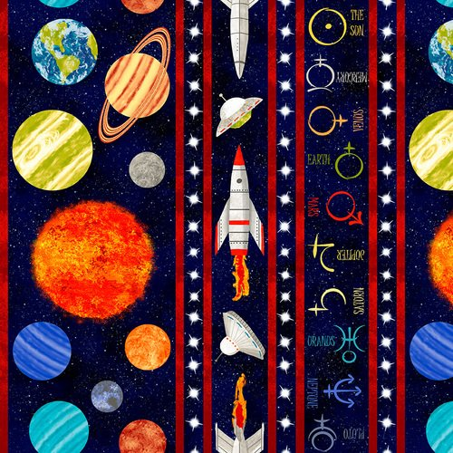 Lost in Space Black Stripes with Planets 9772-99