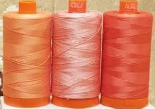 Aurifil 2019 Coral Palette, Limited Edition, 50wt, 3 spools