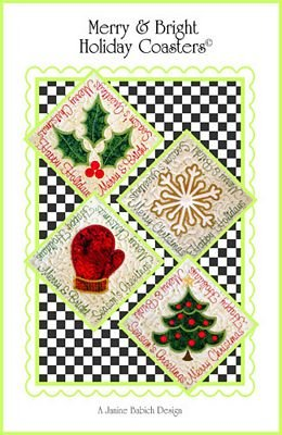 Merry & Bright Coasters Embroidery Design