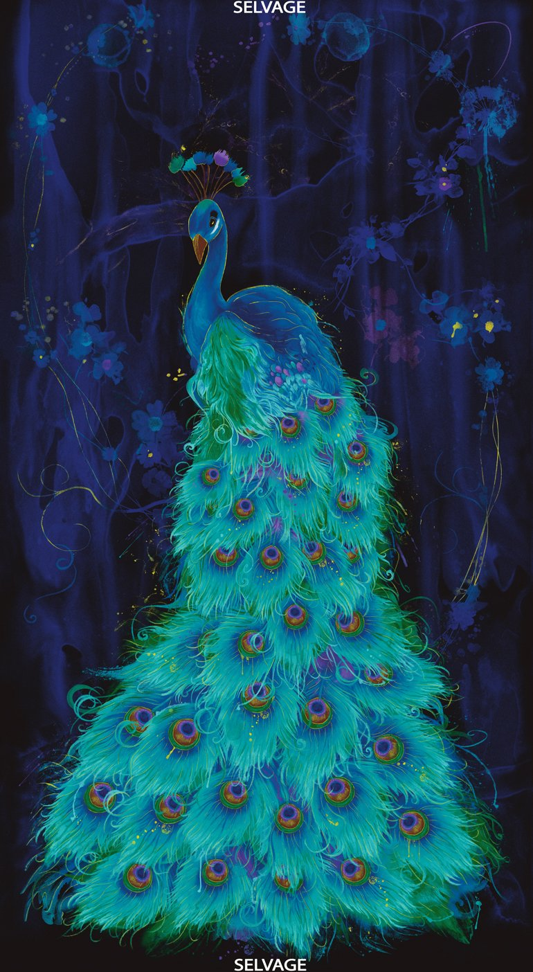 Moonlight Plume Peacock Panel
